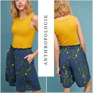 Anthropologie lemon print Bermuda elastic waist
